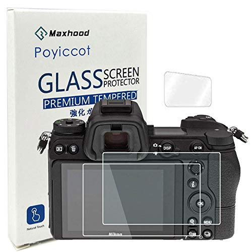 Poyiccot (2-Pack) Nikon Z6 / Z7 Tempered Glass Screen Protector, Optical 9H Hardness 0.3mm Ultra-Thin DSLR Camera Glass with Shoulder Screen Protector Tempered Glass Film for Nikon Z6 / Nikon Z7