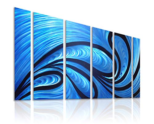 Unique Metal Wall Sculpture, Metal Wall Art with Proud as a Peacock Design, Abstract Blue and Black Modern and Contemporary Décor, Aluminum Artwork, Indoor and Outdoor Decoration, 5 Panels 64