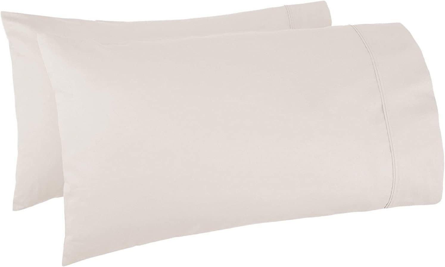 Set of 2 Pillow Cases 1000 Thread Count 100% Egyptian Cotton Long Staple, Durable and Silky Soft Pillow Covers, Shrink & Pilling Proof, Luxurious Hotel Class Bedding Linens (King, Ivory)