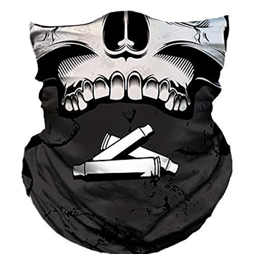 (Skull Face Mask Half Sun Dust Protection, Vivid 3D Tube Mask Seamless, Durable Face Mask Bandana Skeleton)