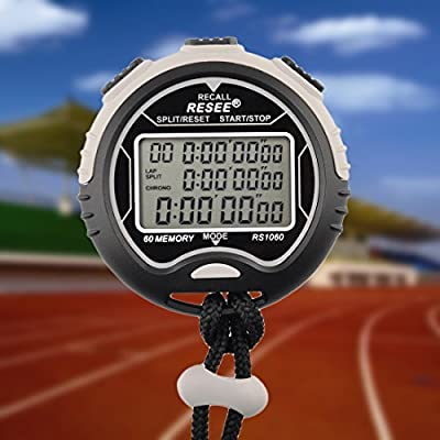 Stopwatch Timer Waterproof, Petforu Electronic Digital Stopwatch [60 MEMORY], Easy to Read Display