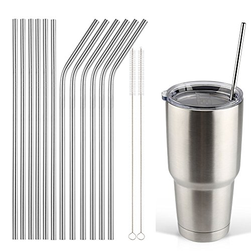 Accmor 18/8 Stainless Steel Straw, FDA-approved Durable Reusable Metal Extra Long Drinking Straw Set (10.5in 6 Straight 6 Bend) Fits 20 30 OZ Yeti Rtic Ozark Tumbler Cups + 2 Clean Brushe