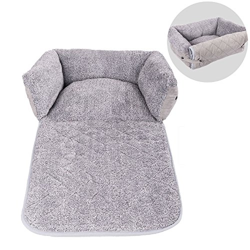 Hollypet Suede Mluti-use Plush Dog Bed Self-Warming Pet Bed Sofa Cushion Pad, Gray