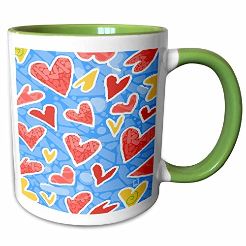 3dRose S. Fernleaf Designs Patterns Folk Art - Patterns, Folk Art ,Whimsical, Hearts, Blue Background - 11oz Two-Tone Green Mug (mug_37495_7)