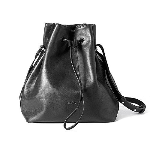 Melkco Fashion Chic modo serie cubo Crossbody bolsa de piel auténtica (negro)