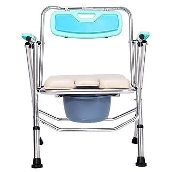 Commode Chair Yuehg Silla De Ducha Regulable En Altura Aleación De Aluminio con Respaldo Y Reposabrazos Adecuado para Personas con Movilidad Reducida,Blue: ...