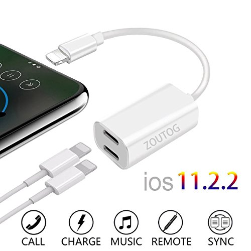 Dual Lightning Adapter, ZOUTOG 2 in 1 Headphone Audio and Charge Adapter for iPhone 7/ 7 Plus / 8 / 8 Plus / X (White)