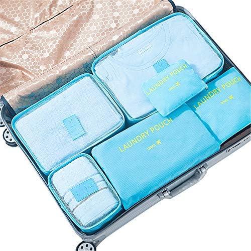 旅行用収納袋 6ピースパッキングキューブのセット旅行オーガナイザー荷物圧縮ポーチセット防水服収納バッグランドリートイレタリーバッグ付き ハンドロールアップ再利用可能な服 (色 : Pink, Size : Free size)