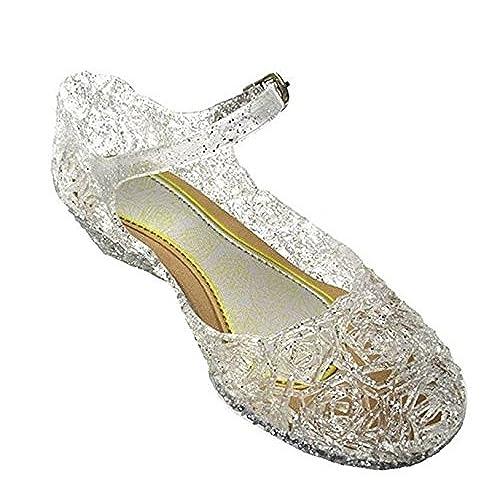 ebe5025e63 YOGLY Sandalias para Niñas Disfraz Princesa Zapatos de Tacón Plástico Sandalias  para Cosplay Cumpleaños Carnaval Fiesta