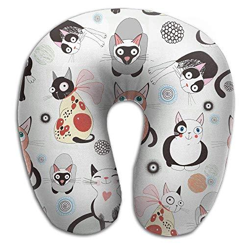Mewisx Cat Cartoon Wallpaper Neck Pillow Comfortable Soft