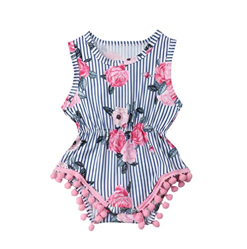 Newborn Baby Girls' Full Flower Striped Sleeveless Romper Bubble Layers Jumpsuit Bodysuit Blue