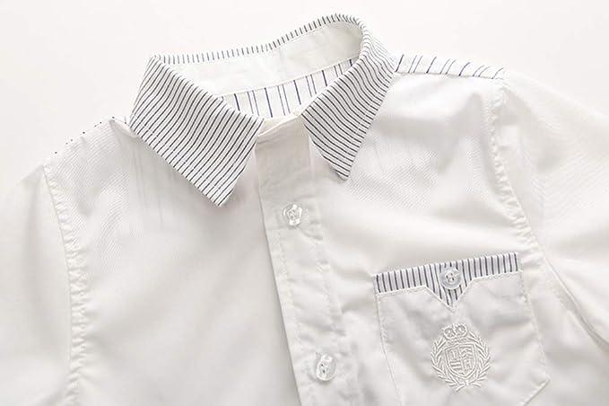 ALLAIBB Niño niños Camisa Blanca Manga Corta Camisa de Caballero: Amazon.es: Ropa y accesorios