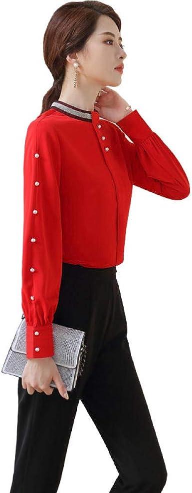Blusas Y Camisas para Mujer Camisa De Mujer Cuello Alto Manga Larga Vintage Oporto: Amazon.es: Ropa y accesorios