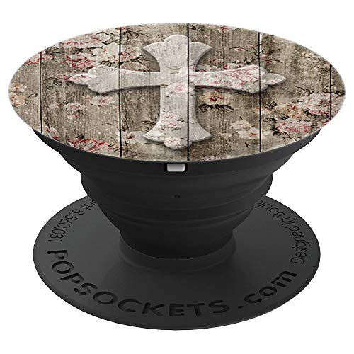 Christian Cross - Pretty Pink White Flowers Weathered Boards - PopSockets Grip and Stand for Phones and Tablets
