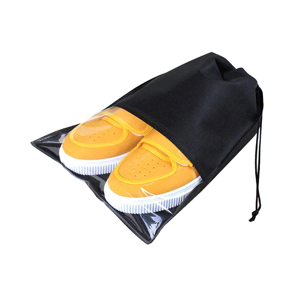 UXUAN 10 Pcs 2 Sizes Travel Shoe Bags with Drawstring and Clear Window Waterproof Dust-proof Non-woven Storage Bags for Men and Women