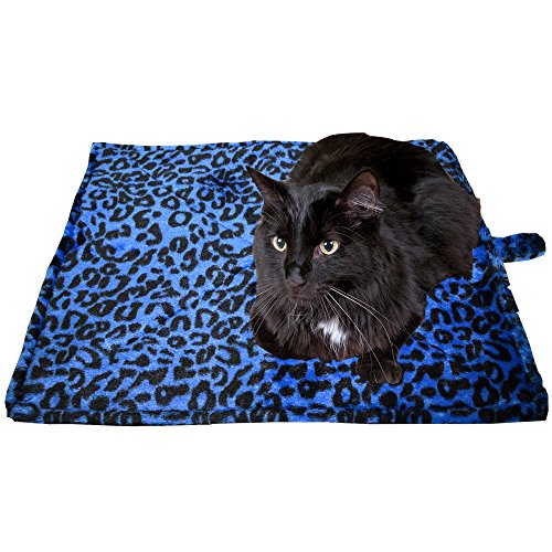 "Downtown Pet Supply Thermal Cat Pet Dog Warming Bed Mat - BLUE, (Leopard Motif) 22"" L x 19"" W from Downtown Pet Supply"