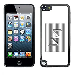 Ihec Tech Modelo de zigzag Líneas Blanco Negro / Funda Case back Cover guard / for Apple iPod Touch 5