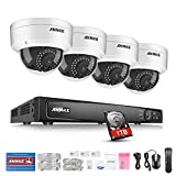 ANNKE 6.0MP 8Ch Network POE Security Camera System (NVR Kit) - 4x 2.0MP POE Outdoor Dome IP Cameras, 100ft Night Vision, One 1TB Surveillance Hard Drive Disk Included