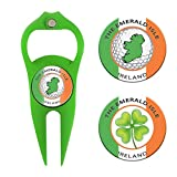 Hat Trick Openers 6-in-1 Golf Divot Tool & Poker Chip Marker Set with Ireland Logo, Kelly Green