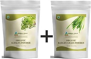Herbal Hills Alfalfa Powder Organic & Barley Grass Powder Organic, Each 16 Ounce/ 454 gm Green Food Supplements Combo (Pack of 2) 32 oz
