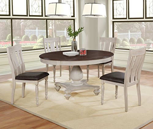 Roundhill Furniture T7293R-C7293-C7293 Arch Solid Wood Dining Set: Round Table, Four Chairs, Distressed White and Dark Oak