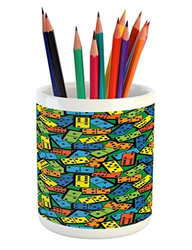 Cheap  Lunarable Casino Pencil Pen Holder, Colorful Domino Pattern Entertaining Success Winner Player..