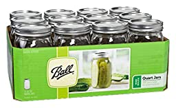 Ball Mason Wide Mouth Quart Jars with Lids and Bands, Set of 12