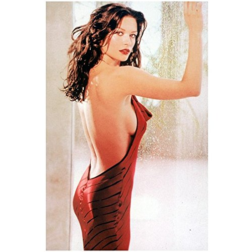 Catherine Zeta-jones 8 X 10 Photo Red Halter Dress Hands on Rainy Window Messy Wavy Hair Pose 1 kn
