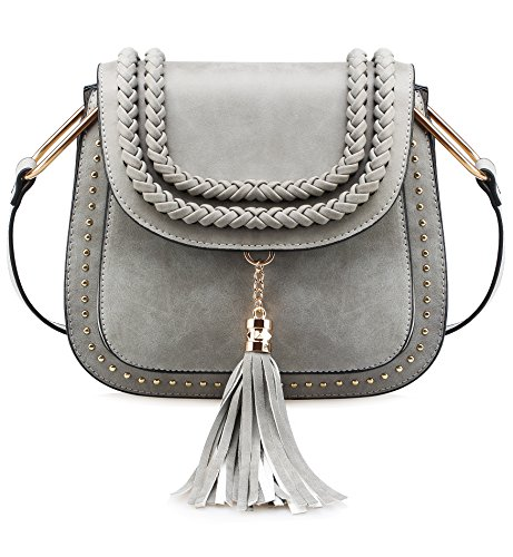 Tom Clovers Womens Vintage Tassel Saddle Shoulder Bag Crossbody Bag Sling Bag Shopping Travel Satchel Grey by Tom Clovers