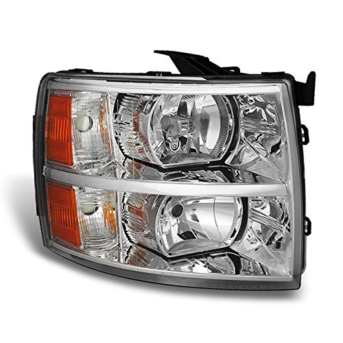 For 07-13 Chevy Silverado Pickup Truck Chrome Headlight Front Lamp Passenger Right Side ()