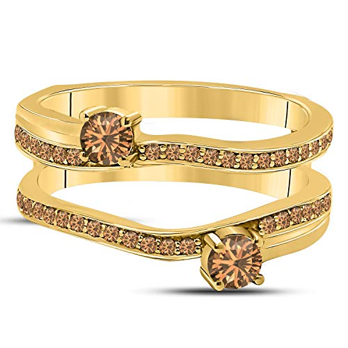 (DS Jewels 14k Yellow Gold Plated Alloy Two Stone Prong Set Round Forever US Enhancer Ring Guard with CZ Smoky Quartz (0.58 ct. tw.))