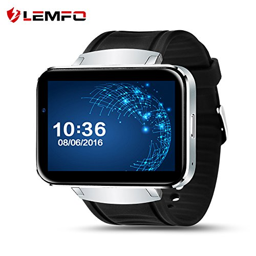 LEMFO LEM4 Smart Watch Cell Phone with Android 4.4 OS MTK6572 Dual Core 3G WIFI GPS 2.2 inch Screen Smartwatch for Android (BLACK+SILVER)
