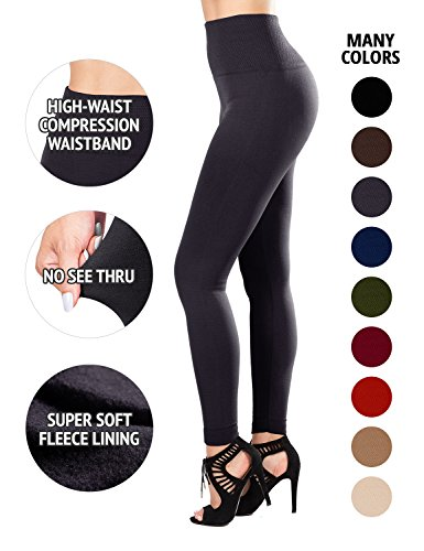 Sejora Fleece Lined Leggings High Waist Compression Slimming Warm Opaque Tights (One Size, Charcoal) -