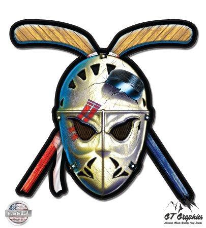 Hockey Mask Crossed Sticks Retro Vintage Style - 3' Vinyl Sticker - For Car Laptop I-Pad Phone Helmet Hard Hat - Waterproof Decal