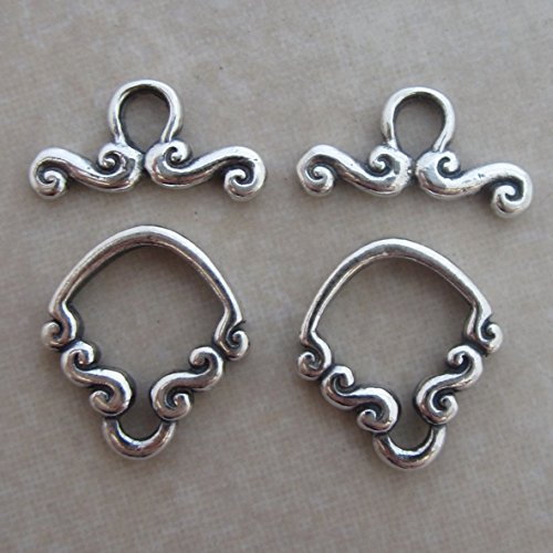 2 Sterling Silver Fancy Bali Toggle Clasps Scroll (Bali Scroll Ring)