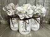 Painted Mason Jar Decor Set of 3 | White Mason Jars | Rustic Wedding Vase Centerpiece | Farmhouse Decor | Nursery Decor | Burlap Bowtique | FREE Ship Review