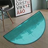 Asian Half Round door mats for inside Various Temples above the Sea Tank in Fog Symbolic Faith Custom Pagoda Monochrome Bath Mat for tub Bathroom Mat Turquoise size:23.7''x15.8''