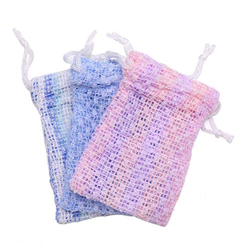 (JETEHO 3 Pcs Mesh Soap Saver Bags - Exfoliating Soap Pouch Body Set -Exfoliating Mesh Soap Saver Pouch with Drawstring for Bath & Shower Use)