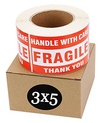 - SJPACK Fragile Stickers 3'' x 5'' 1 Roll 500 Labels Fragile - Handle with Care - Thank You Shipping Labels Stickers (500 Labels/Roll)