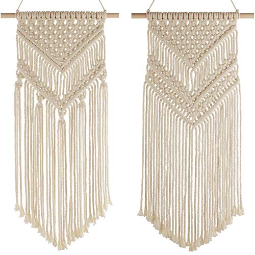 49dc897837d10 2-Piece Macrame Woven Wall Hanging Tapestry, Modern Geometric Boho Chic  Bohemian Home House Living Room, Bedroom, Dorm Room, Apartment, Gallery  Wall ...