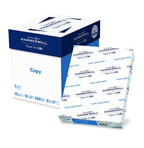 - Hammermill Paper, Copy Paper, 8.5 x 11 Paper, Letter Size, 20lb Paper, 92 Bright, 5 Ream Case / 2,500 Sheets (113600C) Acid Free Paper