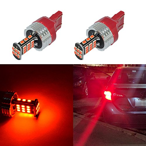 Alla Lighting 2pcs Super Bright 1000 Lumens Pure Red W21W 7443 7440 LED Bulb T20 Wedge High Power 3020 30-SMD LED Lights Bulbs for Brake Tail Stop Light Lamp Replacement
