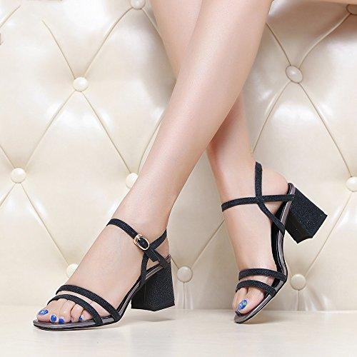 Chic GYHDDP Sandalias para Mujer de Tacón bajo 2483a2e33414