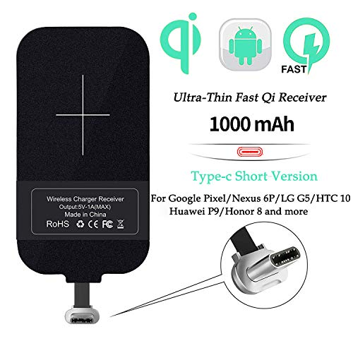 Nillkin Qi Receiver USB C, Thin Wireless Charging Receiver, Type C Wireless Charger Receiver for Galaxy A40/A20e/J3/J7, Pixel 2 and Other Type-C Android Cell Phones(Short Version)