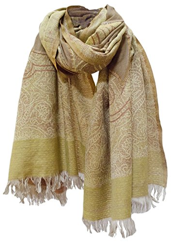 Sequin Cut Work Merino Wool Shawl Wrap Stole Scarf Throw Gold Mustard Khaki by Steel Paisley