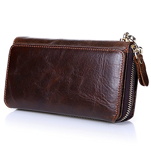 (Mn&Sue Men's Cowhide Leather Vintage Long Organizer Zipper Wallet Trifold Murse Business Clutch Pouch)