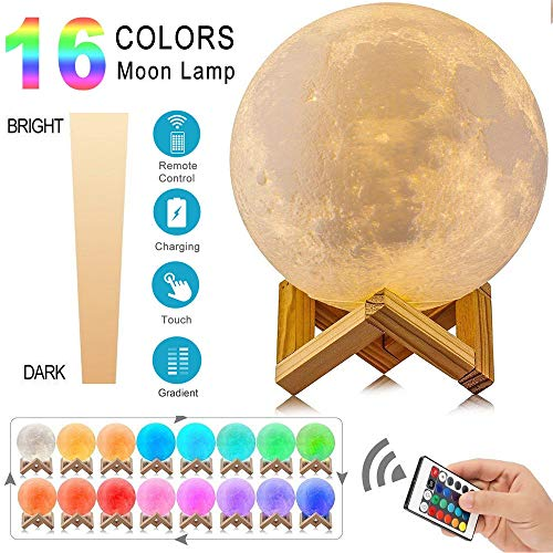 Price comparison product image Moon Lamp,  WANKKO 16 Colors LED 3D Print Moon Light with Stand & Remote&Touch Control and USB Rechargeable,  Moon Light Lamps Night Lights for Baby Kids Lover Birthday Party Gifts 5.9 inch