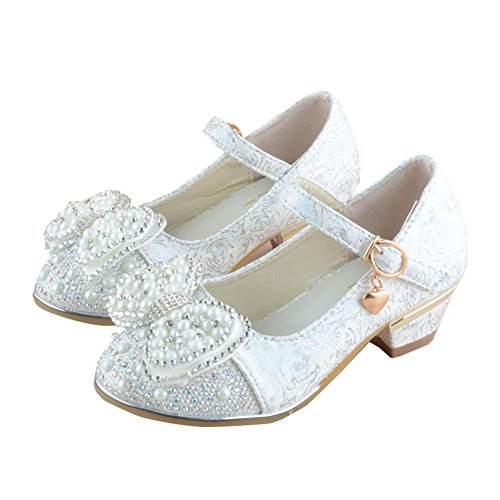 cbabf5ff278 Paul Kevin Girls Sandals Princess High-heeled Pearl Dress Shoes White 8.46  inch Eu 34 Us 3