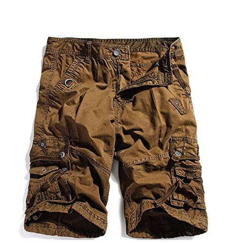 Keybur Cotton Twill Army Cargo Multi-Pocket Shorts Outdoor Wear Lightweight (30, Coffee Brown) ()