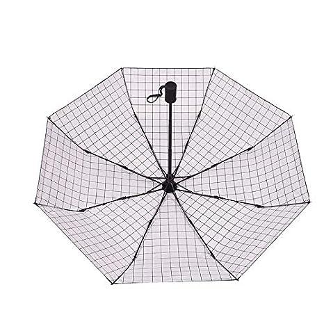 Wsxxnhh Parapluies De Parapluies Hommes Et Femmes De Mode Automatique Nouveau 30% Parapluie en Plastique Noir Parasol UV Blanc Carré